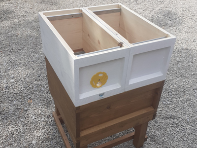 5 Frame Nucleus Hive with Half Brood Box on Full Size Brood Box.